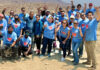 Consul General Sue Saarnio (front center) and employees of the U.S. Consulate General in Tijuana support Fundación Esperanza de México by building a house during the Day of Service events for the Fourth of July. Photo by Jose Noriega