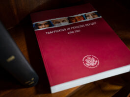 """Spanning more than 600 pages, the 2021 Trafficking in Persons Report is viewed as the """"gold standard"""" in assessing government efforts to combat human trafficking. Photo by Amanda McCarthy"""