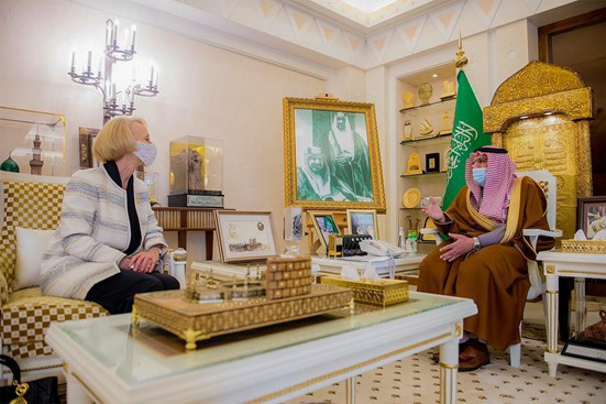 During a trip to the Qassim region northwest of Riyadh, Chargéd'AffairesMartina Strong (left) meets with Qassim Emir Prince Faisal al-Saud (right), March 2021. Photos by Marichuy Gomez
