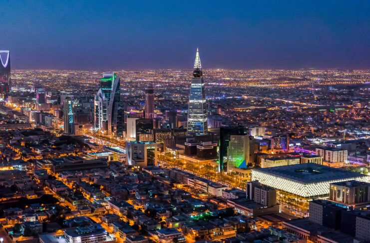 A beautiful nighttime cityscape of Riyadh, Saudi Arabia. Photo by Adznano3