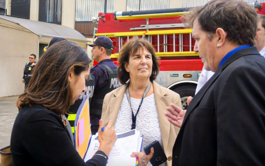 From left: Crisis Management Trainer Dayana Umaña, Deputy Chief of Mission Robin Mathewman , and USAID's Tim Callaghan during an Embassy San José crisis management exercise with personnel from the local fire department in Costa Rica, December 2018. Photo courtesy of USAID Mission Costa Rica