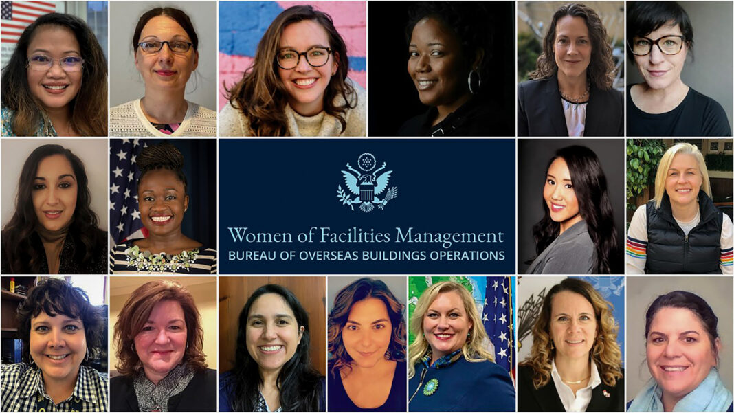 """In April 2021, the women in the Bureau of Overseas Buildings Operations Office of Facility Management were highlighted in the bureau's """"FAC newsletter"""" for their contributions to U.S. diplomacy and for the integral role they play in closing the gender gap in the cities in which they serve. Illustration by Krystle Villanueva"""